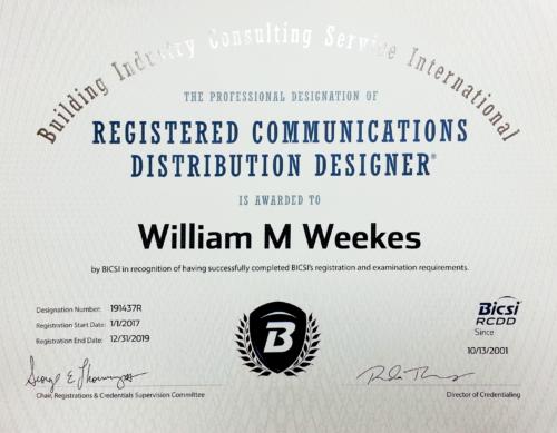 Registered Communications Distribution Designer William Bill Weekes RCDD