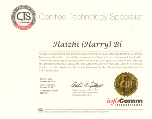 Harry Bi Certified Technology Specialist Certificate CTS