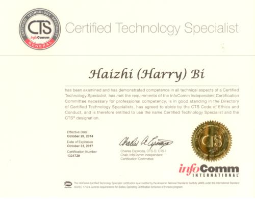 Harry Bi Certified Technology Specialist Certificate CTS