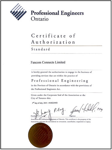 Professional Engineers Ontario Certificate of Authorization POE